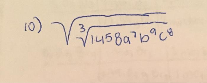 Squareroot 3 squareroot 1458 a^7 b^9 c^8