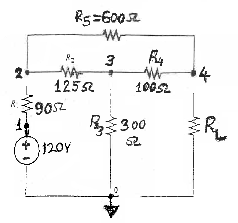 Determine the Thevenin's Equivalent Circuit for
