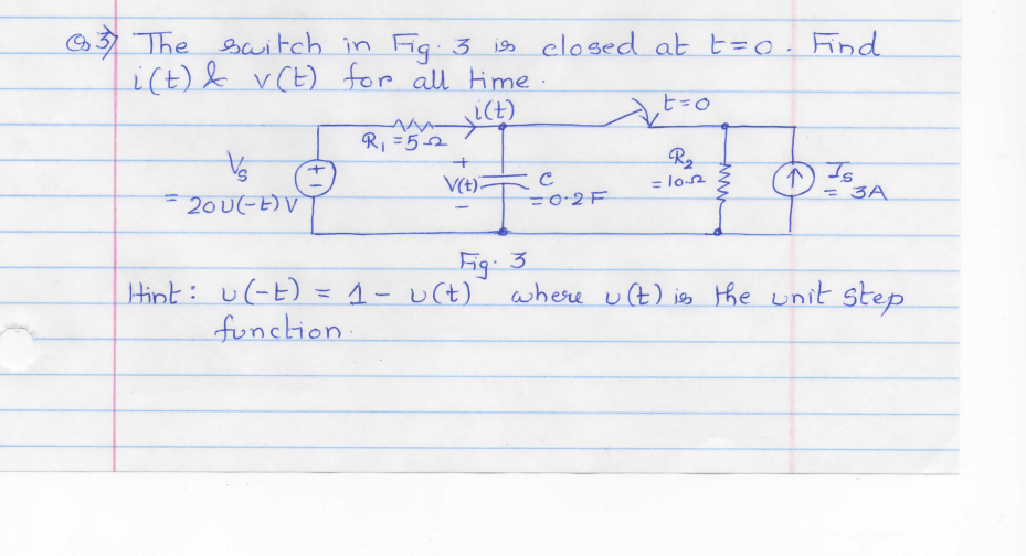 The switch in Fig 3 is closed at t=0. Find i(t) &