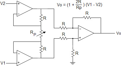In the instrumentation amplifier shown below, R =