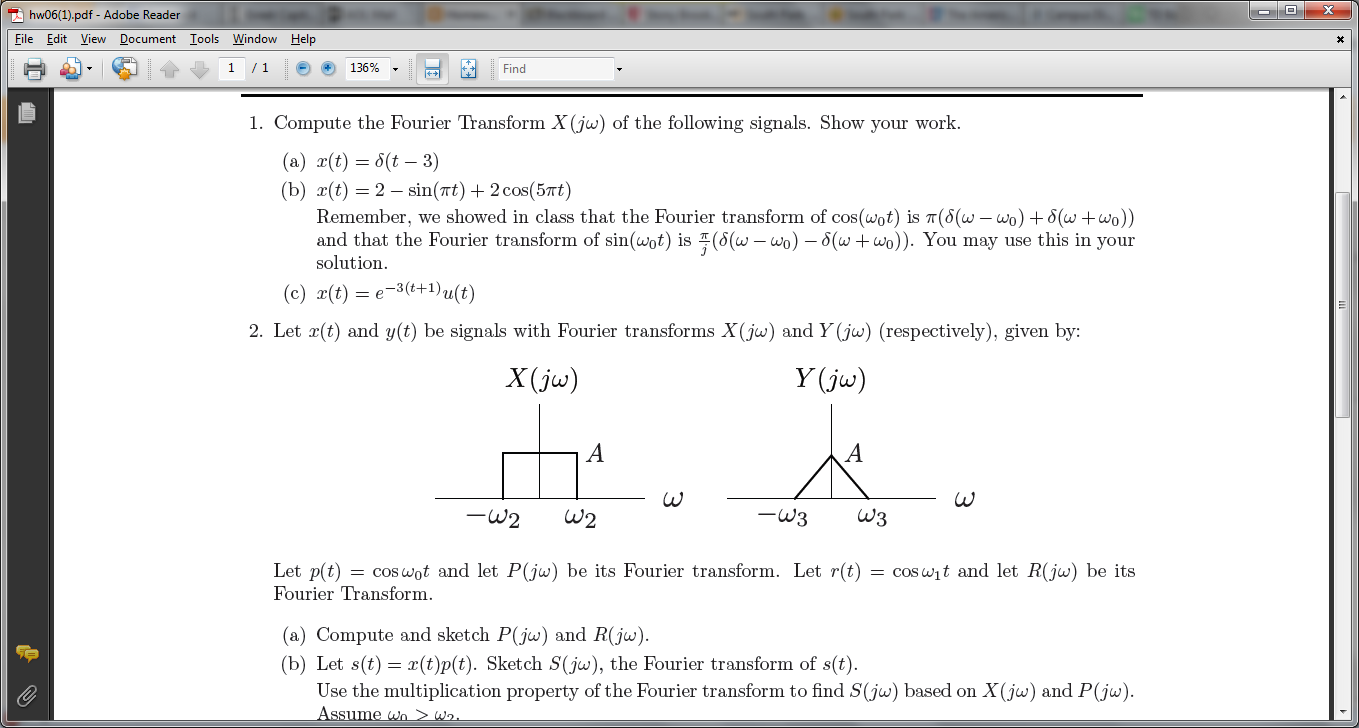 Compute the Fourier Transform X(jw) of the followi