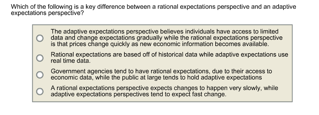 adaptive expectations and rational expectations Advertisements: inflation and unemployment: phillips curve and rational expectations theory in the simple keynesian model of an economy, the aggregate supply curve (with variable price level) is of inverse l-shape, that is, it is a horizontal straight line up to the full-employment level of output and beyond that it becomes.