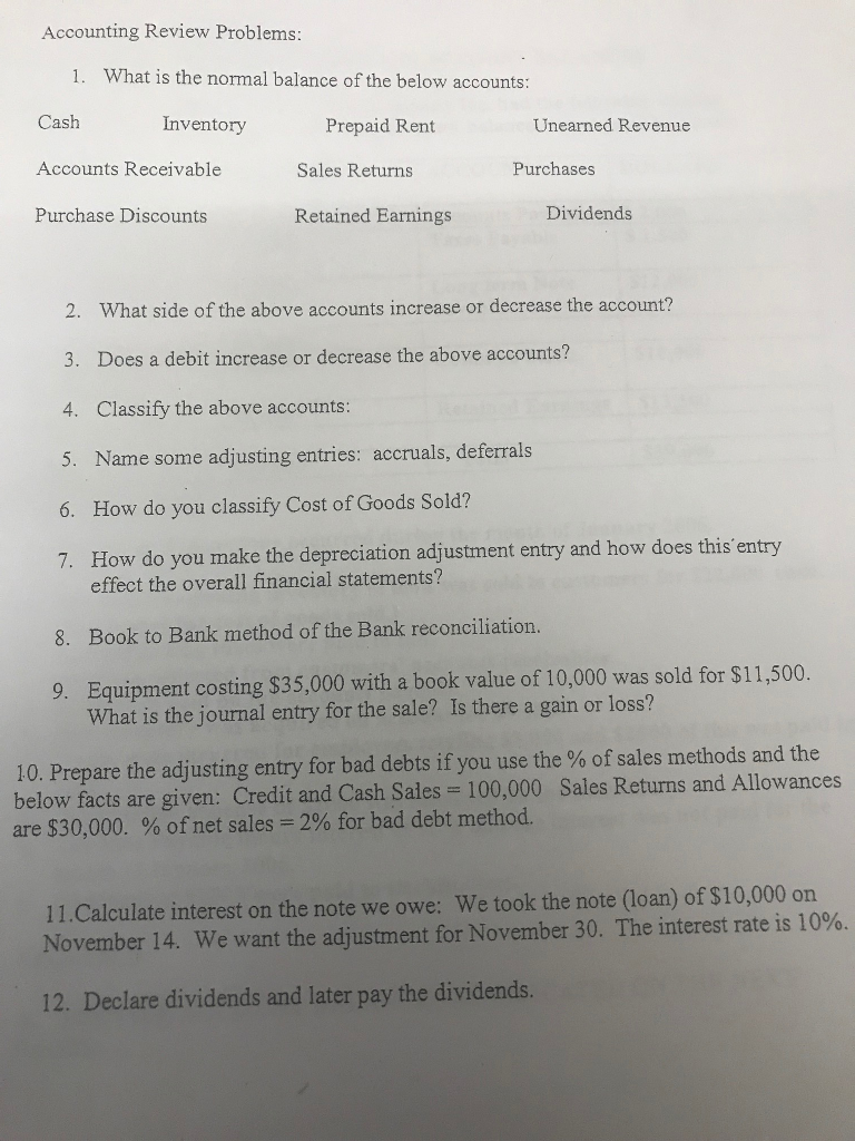 Accounting archive february 10 2018 chegg accounting review problems 1 what is the normal balance of the below accounts fandeluxe Choice Image