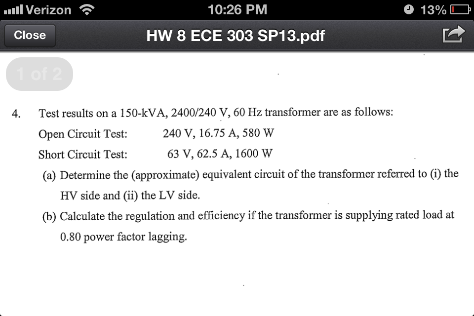 Test results on a 150-kVA, 2400/240 V, 60 Hz trans
