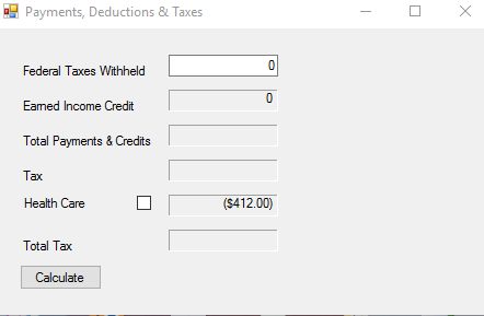 Solved Writing A 1040 Ez Tax Form In Visual Basic I Need