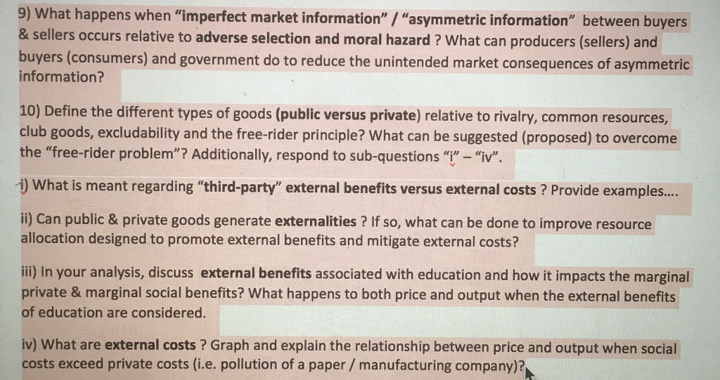 Solved What Happens When Imperfect Market Information
