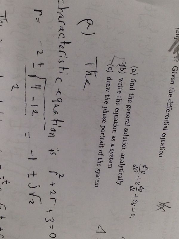 Given the differential equation d2y/dt2 + 2dy/dt +