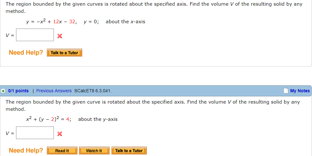 The region bounded by the given curves is rotated chegg question the region bounded by the given curves is rotated about the specified axis find the volume v of ccuart Image collections