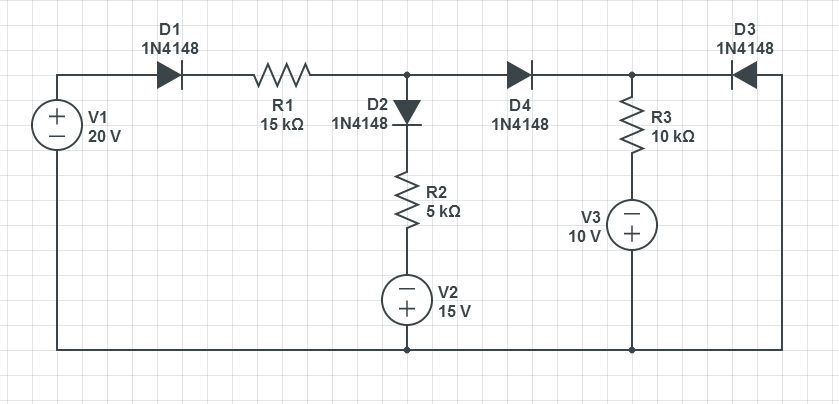 Find the state of the diodes. Also calculate the p