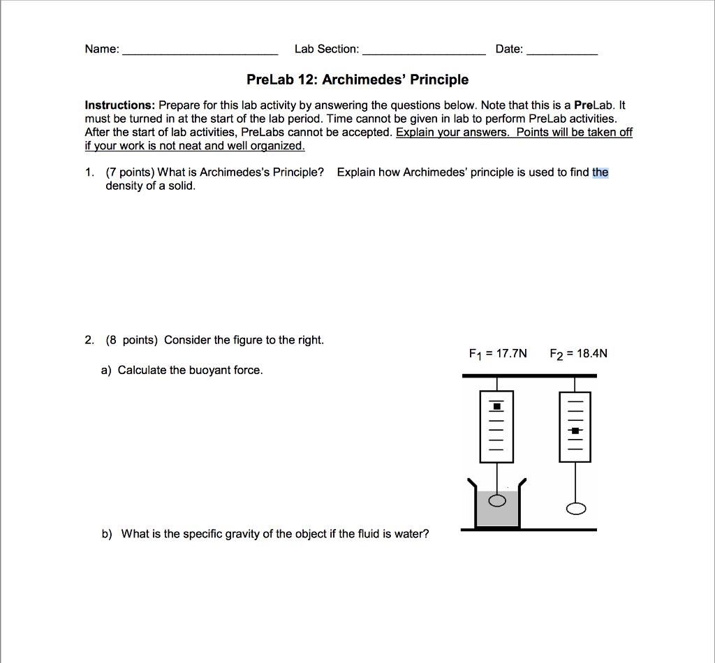 Uncategorized Archimedes Principle Experiment 1 7 points what is archimedess principle de chegg com name lab section date prelab 12 archimedes instructions prepare for