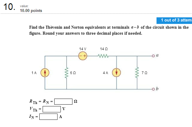 Find the Thevenin and Norton equivalents at termin