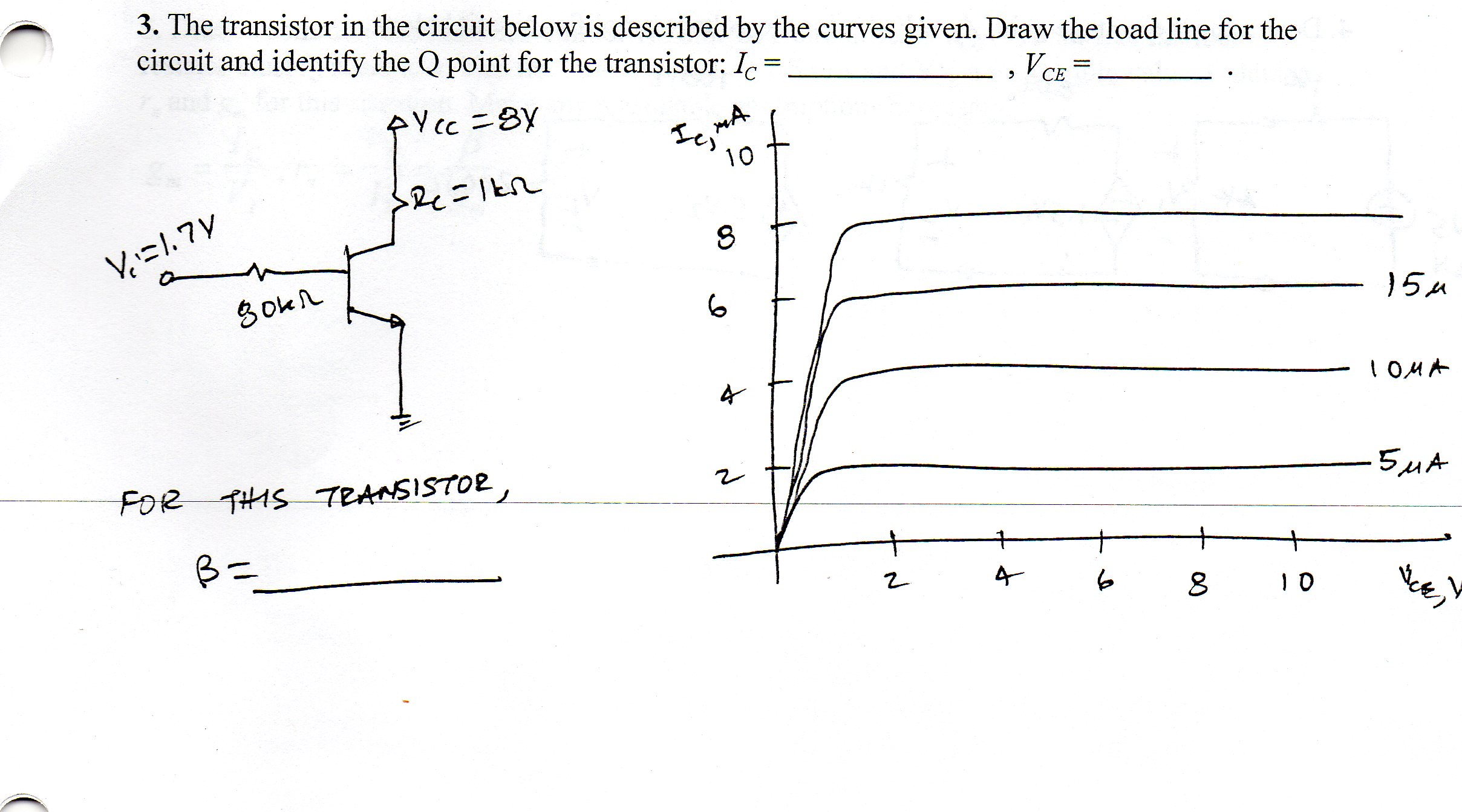 The transistor in the circuit below is described b