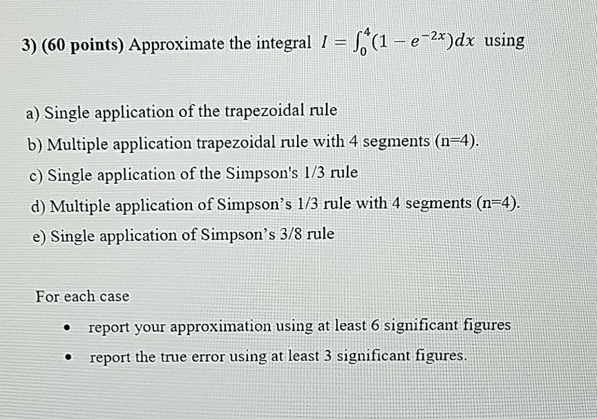 4 3 60 points approximate the integral 1 1 chegg question 4 3 60 points approximate the integral 1 1 e mdx using a single application of the trapez sciox Gallery