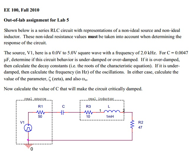 Shown below is a series RLC circuit with represent