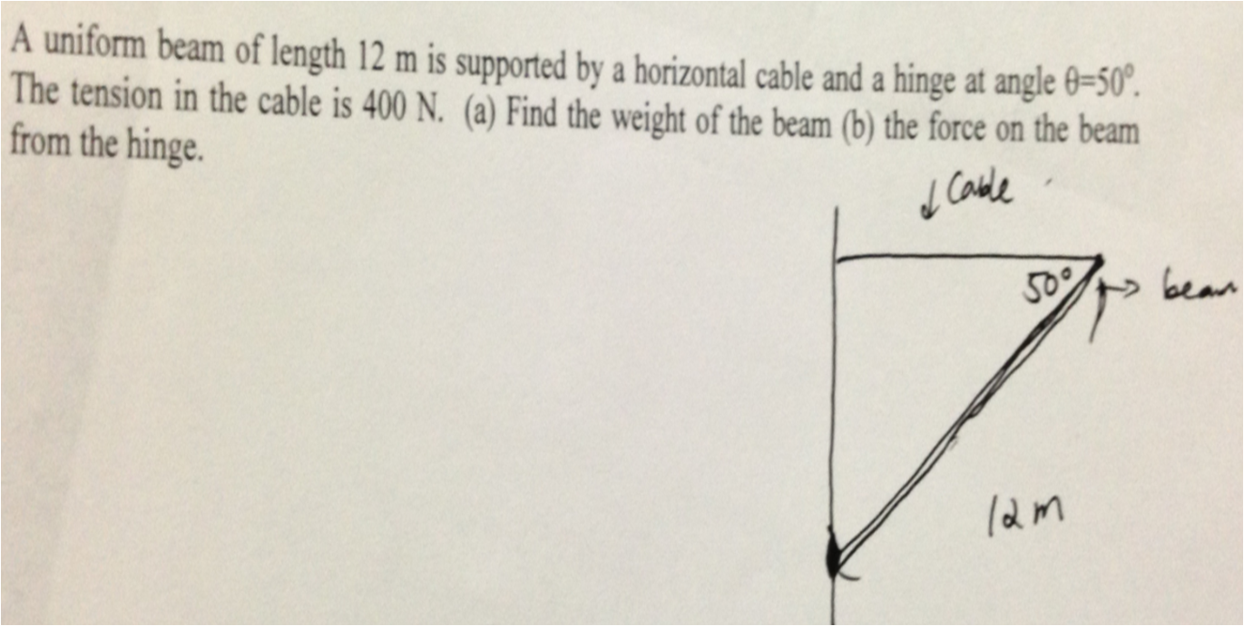 A uniform beam of length 12 m is supported by a ho