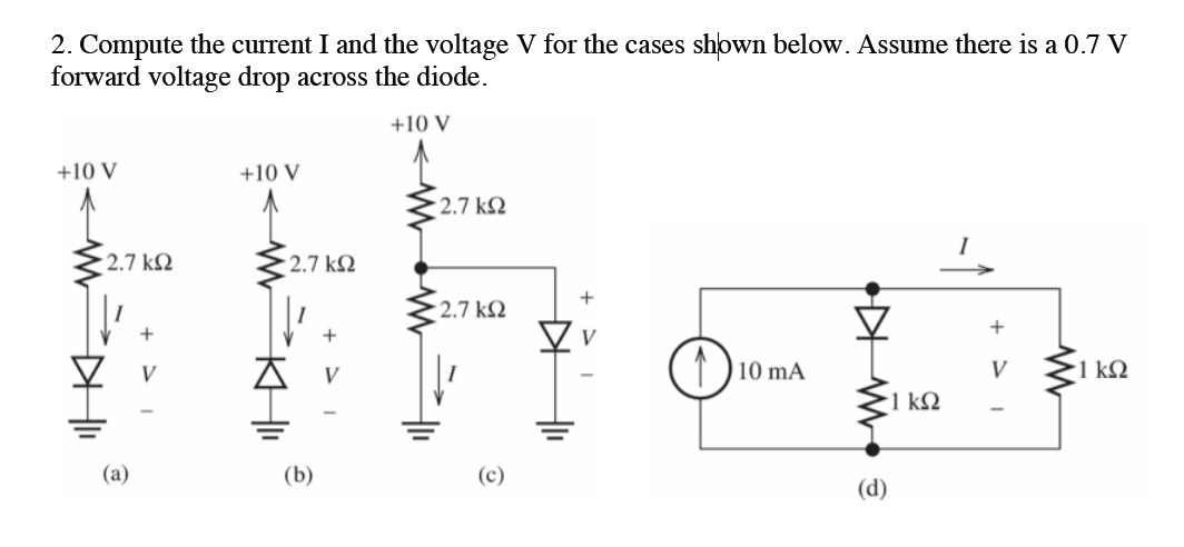 Compute the current I and the voltage V for the ca