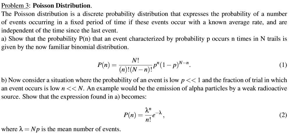 Solved: Poisson Distributioin. The Poisson Distribution Is ...