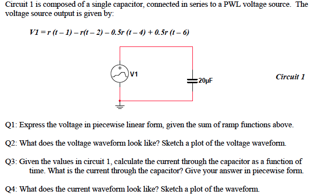 Circuit 1 is composed of a single capacitor, conne