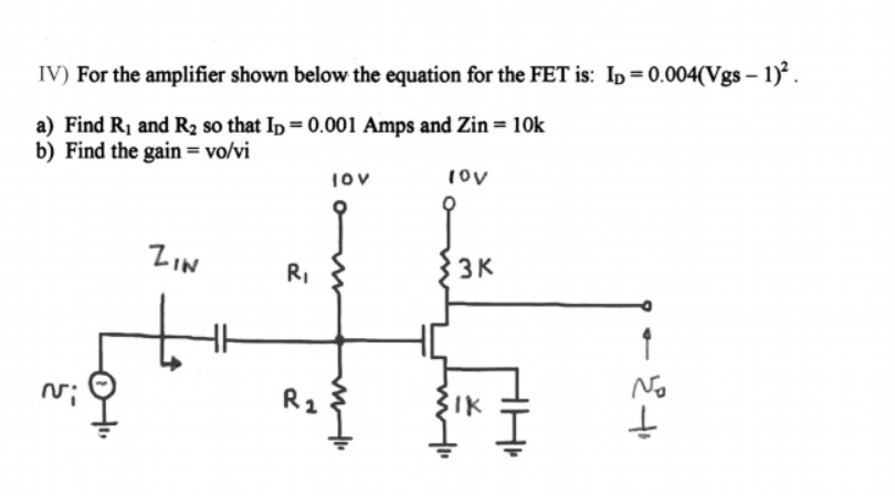 For the amplifier shown below the equation for the