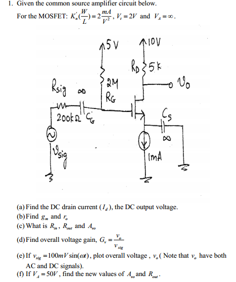 Given the common source amplifier circuit below.