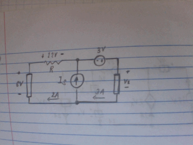 For the circuit below, determine: the voltage, V1
