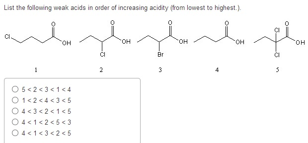 List the following weak acids in order of increasi