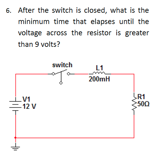 After the switch is closed, what is the minimum ti