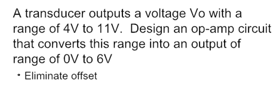 A transducer outputs a voltage Vo with a range of