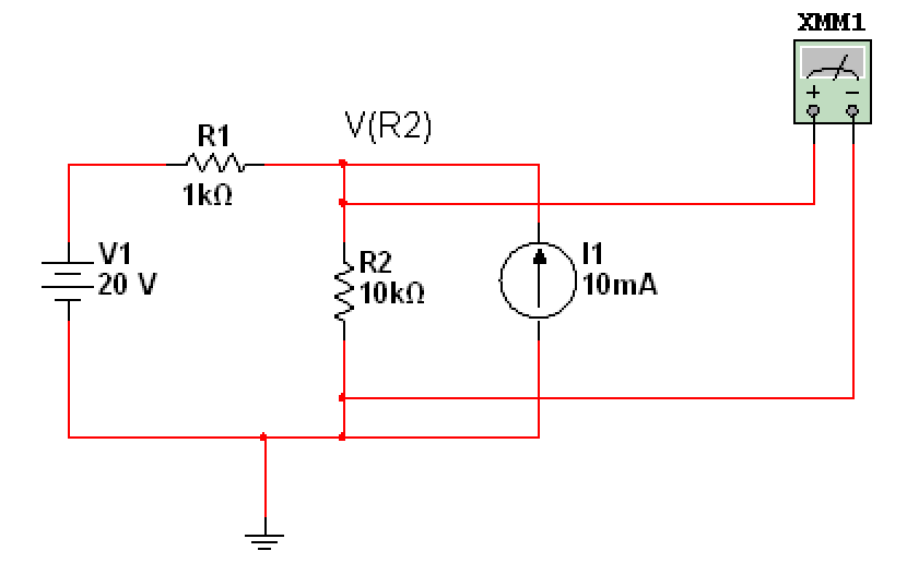 Using superposition, find the voltage VR2 for th