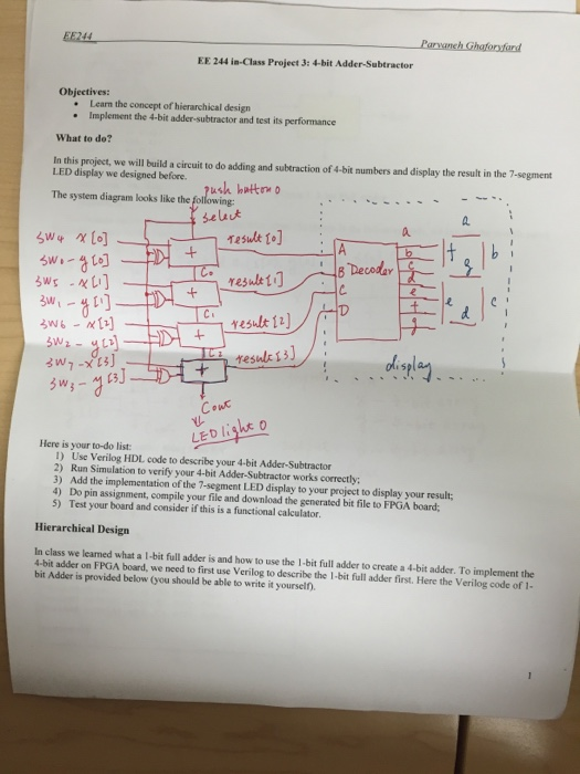 Ee Concept solved ee 244 is class projeet 3 4 bit adder subtractor