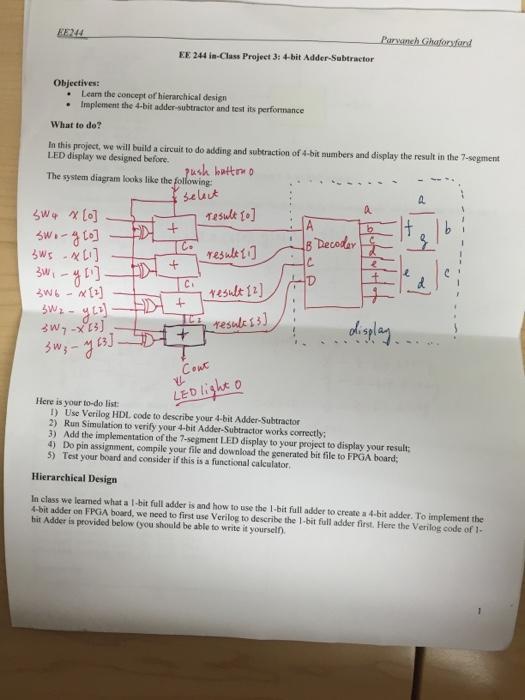 Ee Concept solved ee 244 is class projeet 3 4 bit adder subtractor