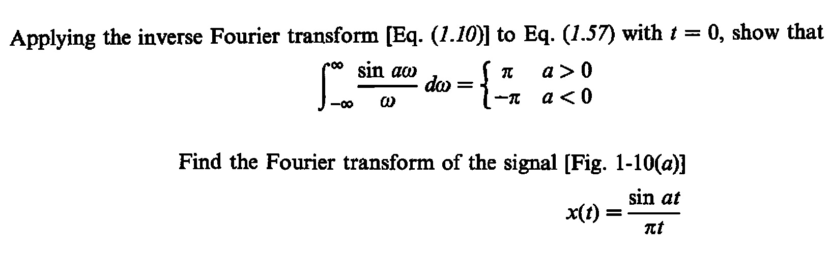 Applying the inverse Fourier transform [Eq. (1.10)