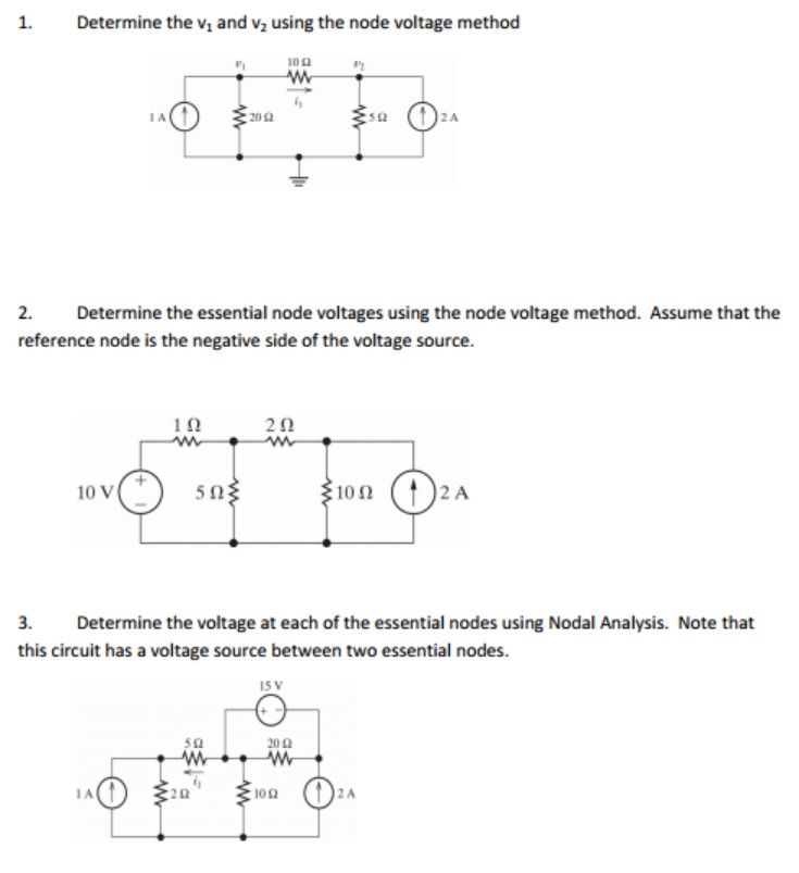 Determine the v1 and v2 using the node voltage met
