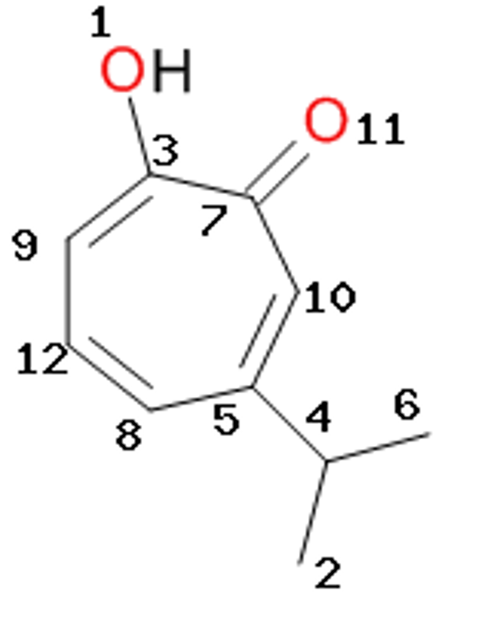 The molecular structure of hinokitiol is represent chegg oh 011 7 10 12 54 6 2 3 92 pooptronica