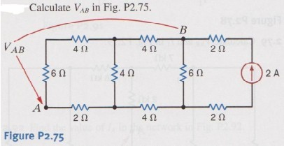 Calculate VAB in Fig. P2.75.