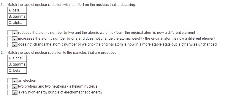 Match the type of nuclear radiation with its effec