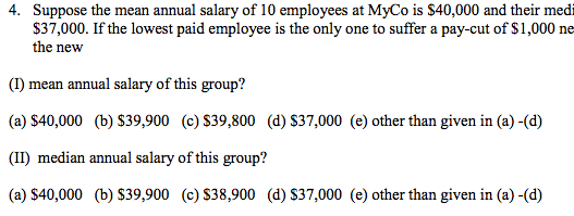 Suppose the mean annual salary of 10 employees at