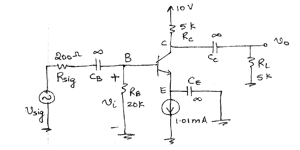 For the amplifier circuit below, find the DC