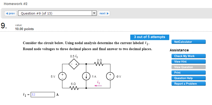 Consider the circuit below. Using nodal analysis d