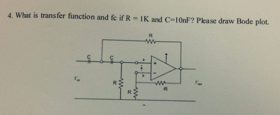 What is transfer function and fc if R = 1K and C=1