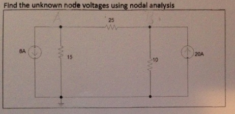 Find the unknown node Voltages using nodal analysi
