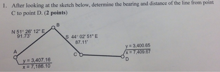 Civil D Draw Line Bearing Distance : Solved after looking at the sketch below determine b