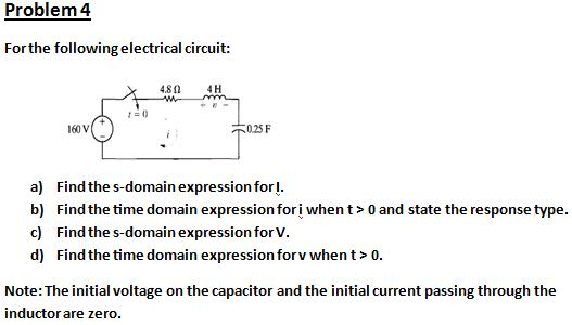 For the following electrical circuit: Find the s-