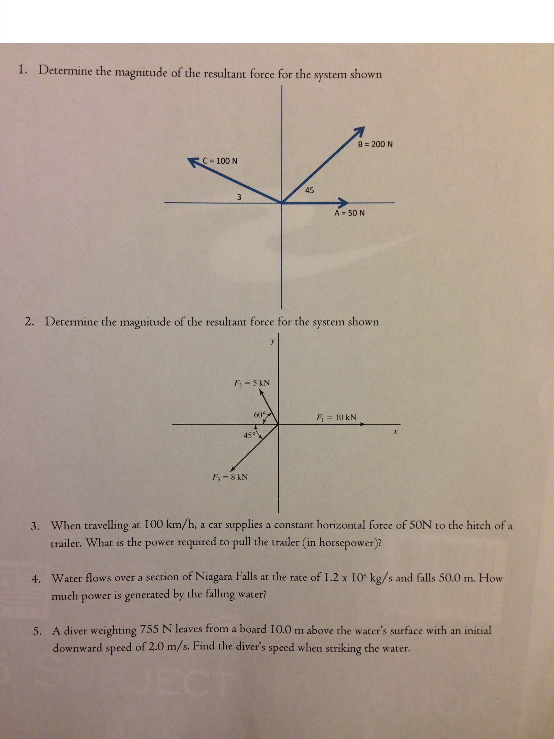 Determine the magnitude of the resultant force for
