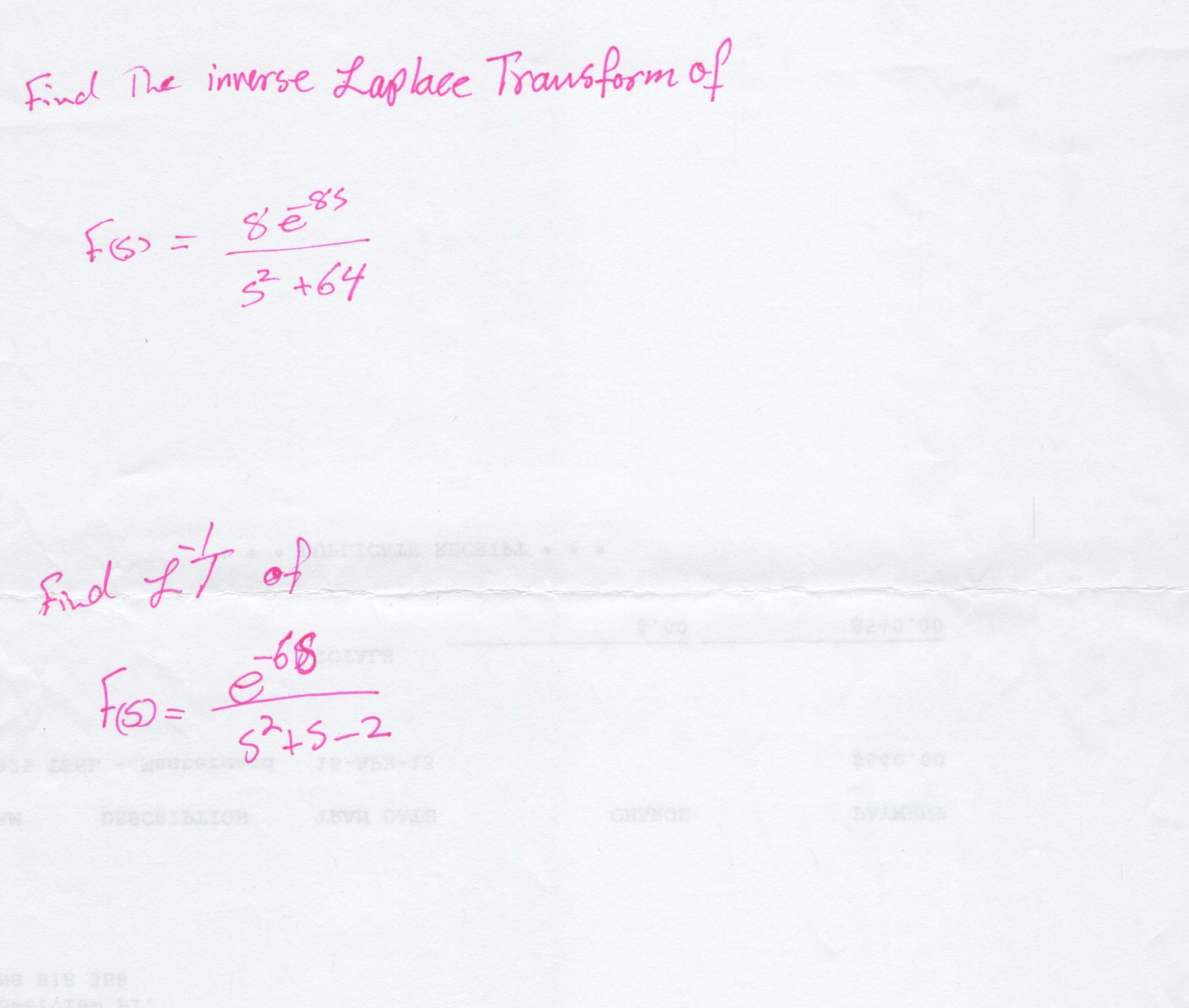 how to solve inverse laplace transform