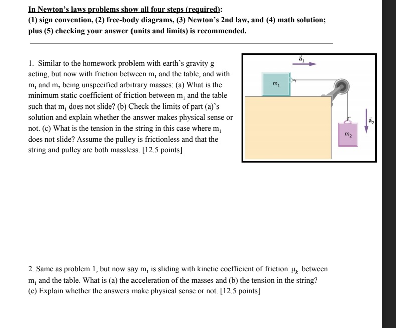 Solved: In Newton\'s Laws Problems Show All Four Steps (req ...