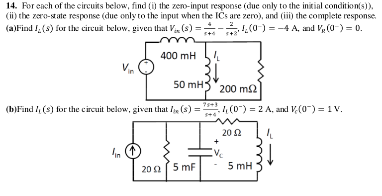 For each of the circuits below, find (i) the zero-