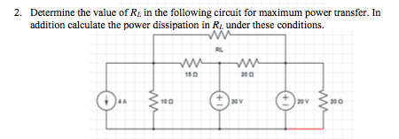 Determine the value of Rl in the following circuit