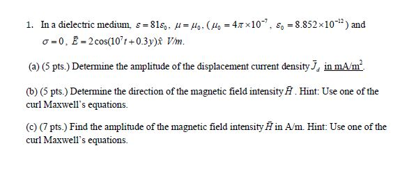 In a dielectric medium. Determine the amplitude o
