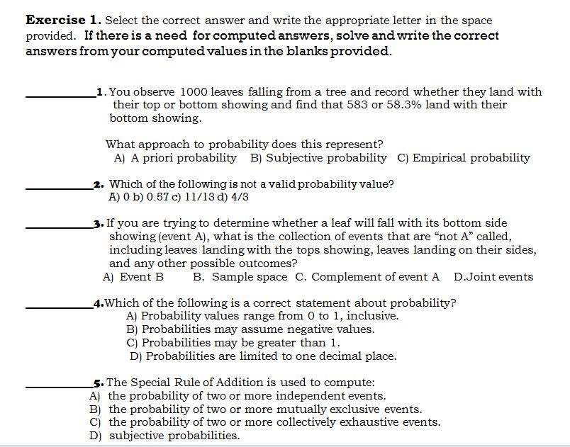 Select the correct answer and write the appropriate letter in the space  provided
